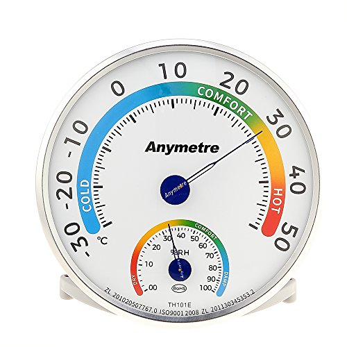 Thermometer Rund,Thermo-Hygrometer Temperatur Messgerät und Feuchtigkeit Messgerät Thermometer Hygrometer Analoges Kombigerät für Innen Außen