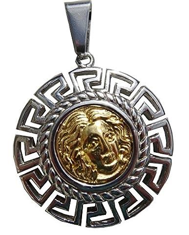 GroßAnhänger Juwel-Töne griechischen Apollo Stahl glänzende Silber-und Gold Hellenic durchbrochene Fries mit Lederschnur