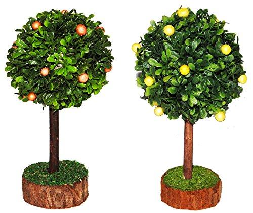 Unbekannt 2 TLG. Set: Zitronenbaum + Orangenbaum - Miniatur 13 cm / Maßstab 1:12 - Baum Orangen - für Puppenstube / Puppenhaus u. Eisenbahn Platte - Garten Bäume / Zitr..