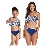 FeelinGirl Zwei Stücke Mutter und Tochter passenden Badeanzug Set Ruffle Plissee Vintage Floral Print Schulterfrei Bademode Outfit Set