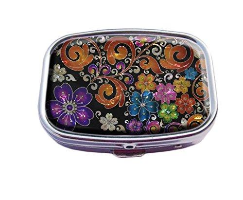Supremecom Pillendose für Tabletten, quadratisch, silberfarben - Metal Purple Flower Arabesque-4 Arabesque Flower