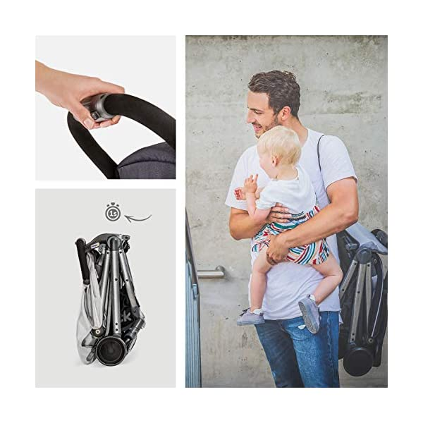 Hauck Swift Plus, Compact Pushchair with Lying Position, Extra Small Folding, One Hand Fold, Lightweight, Carrying Strap, from Birth Up To 15 kg, Lunar Hauck Our smallest comfort stroller Extra small and fast folding with one hand Extremely light - easy to carry over the shoulder 6