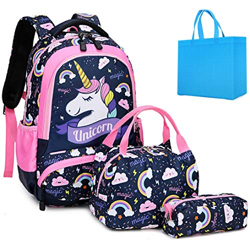 Zaino Scolastico Ragazza Bambina Scuola Elementare Zainetti Bambini Zainetto Girls School Backpack Set per la Scuola Borsa (Rosa)