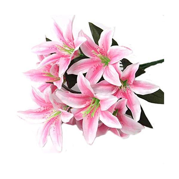 Artfen – Ramo de 10 azucenas artificiales, para decoración de bodas, fiestas, hogar, hotel, oficina, jardín…