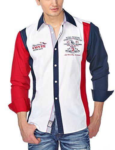 M.Conte Men Shirt Camicia Manica lunga Casual Cotone da Uomo Luca red, blue, white, Size XXL