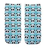 Ferocity Lustige Socken Sneaker Halbsocken Strümpfe Sportsocken Füßlinge mit Motiv 3D Panda [001]