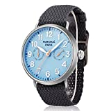 Men Dress Watches with Day Date Blue Dial Black Nylon Watch Bands