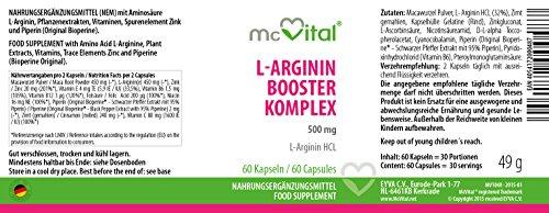L-Arginin HCL Booster Komplex – schneller Muskelaufbau – Libido – 500 mg – 60 Kapseln