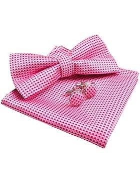 Hombres Vintage de lazo a cuadros corbata & pañuelo y gemelos Set