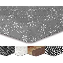 decoking Premium 93764sábana bajera 200x 220cm Puente 30cm gris geométrico cama fundas de cama de microfibras gaardi Blanco Antracita grafito Acero White Grey antrazit Steel HYPNOSIS Collection Snowy Night 1