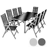TecTake Aluminium Sitzgarnitur 8+1 Sitzgruppe Gartenmöbel Tisch & Stuhl-Set - diverse Farben - (Silber Grau | Nr. 402165)