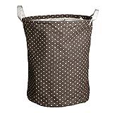 Andux Cesto para ropa sucia Cestos para la colada ZYL-01 (café Dot)