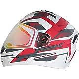 Steelbird R2K Night Vision Helmet Matt Finish with Day Night Dual Action Visor (Medium 580 MM, Matt White/Red)