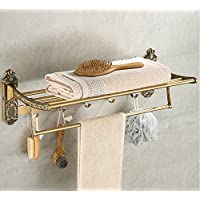 Plantex Antique Aluminum Folding Towel Rack for Bathroom/Folding Towel Stand/Hanger/Bathroom Accessories (24 Inch)