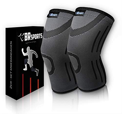 BRSports Kniebandage 2er Set - Stabilität durch Kompression für Arthrose, Meniskus oder Knieschmerzen bei Fitness, Joggen, Fussball und sonstiger Sport - ideal bei Knieverletzung Frauen & Männer (L)