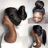 Perruque de cheveux humains brésiliens vierges sans colle qualité 7A - Perruque lace front soyeuse et raide avec cheveux de bébé - Noir naturel pour femme...