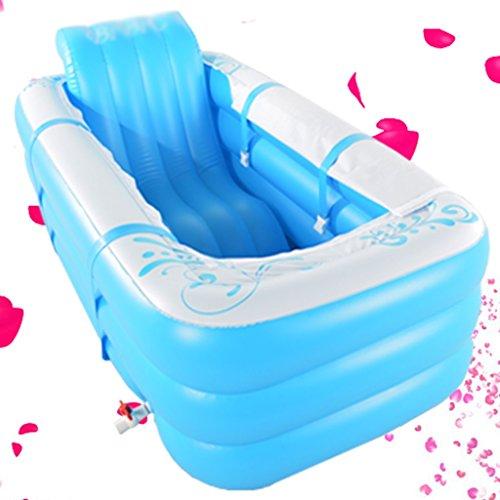 Baignoire Gonflable Se Pliante Baril Adulte de Bain en Plastique Épaississant Garder au Chaud Peut s'asseoir Baignoires et sièges de Bain (Color : Blue)