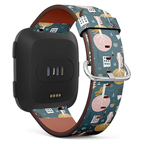 Kompatibel mit Fitbit Versa Lederarmband, mit Schnellverschluss-Stiften (Bunny Bear Igel)
