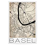artboxONE Poster 60x40 cm Städte Basel Switzerland Map