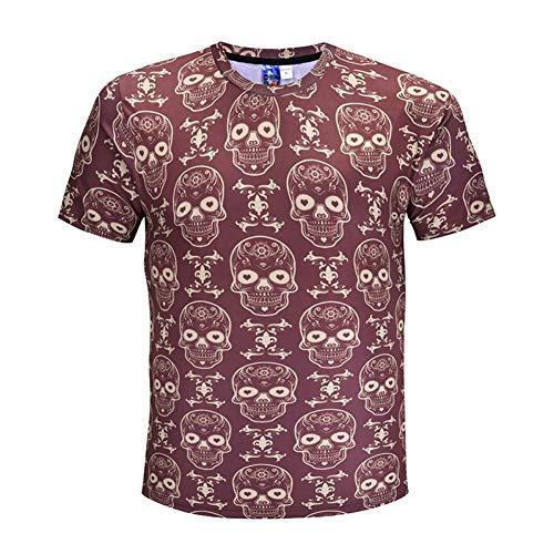 XJWDTX Neue Sommer 3D Kurzarm Kleidung Halloween Kreative Bone Trend Short T-Shirt