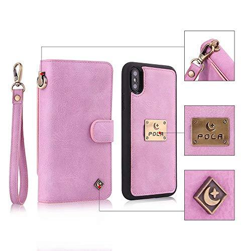 XHD-Persönlichkeit & Mode Telefon-Sets Multifunktionshandschlaufe-Qualität Fabic-Leder-Kasten mit abgetrennter magnetischer rückseitiger Abdeckung für iPhone XS maximal 6,5 Zoll 2018 Schutz