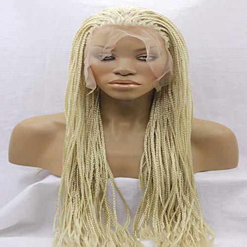 LY7 Lange Blond Geflochten Lace Front Perücken Synthetik Hohe Temperatur Hitzebeständig Ballaststoff zum Schwarz Frau, 18 inches (Geflochtene Perücke Schwarz)