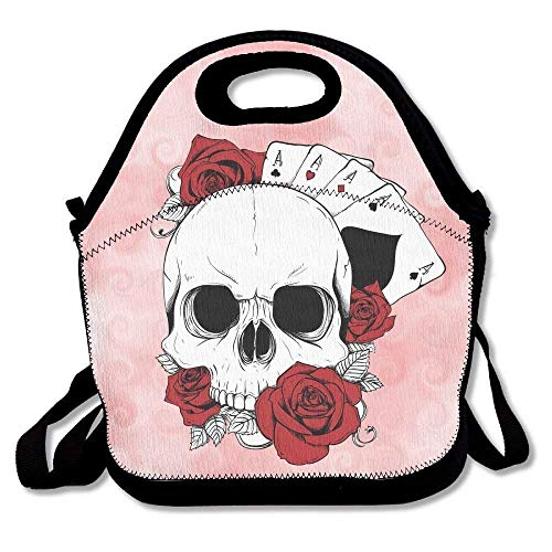 ziHeadwear Skull Rose and Poker Lunch Bags Insulated Travel Picnic Lunchbox Tote Handbag with Shoulder Strap for Women Teens Girls Kids Adults - Tiffin Rose