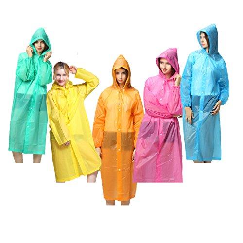 iLoveCos Adult Unisex Raincoat Waterproof Rain Ponchos with Hoods Reusable Durable for Outdoor Travel 5 pieces