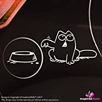 Simon'S Cat Feeding Bowl Auto Etichetta for Carburante Carro armato Cap bianca by Inspired Walls®