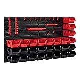 [en.casa]] Estantería de Bricolaje para Pared 540 x 950 x 175 mm 45 Piezas Cajas apilables Organizador de Herramientas Portaherramientas para Guardar Sistema de cajones Negro y Rojo
