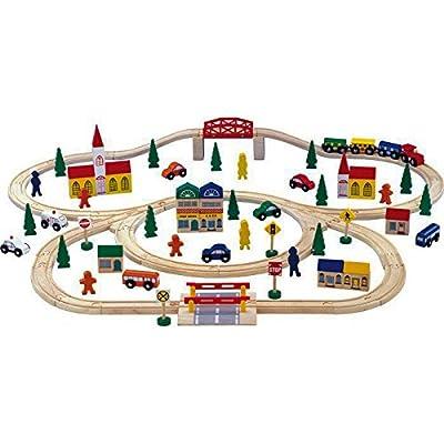 Small Foot Company 1001 - Circuito ferroviario de 100 piezas en madera de Small Foot Company