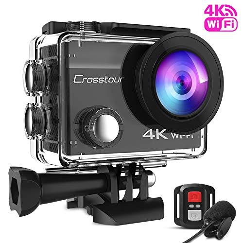 Crosstour Action Cam 4K WiFi 16MP wasserdichte 40m Unterwasserkamera mit Mikrofon und Fernbedienung