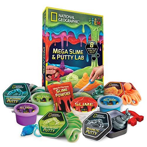 National Geographic Mega Slime & Putty Labor, 8 Sorten inkl. magnetischer, Flauschiger und nachleuchtender, Mehrfarbig -