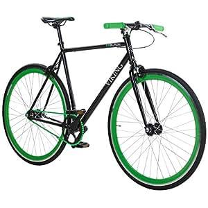 28' Fixie Singlespeed Bike Viking Blade 5 Farben zur Auswahl, Farbe: Schwarz / Grün; Rahmengrösse: 53 cm