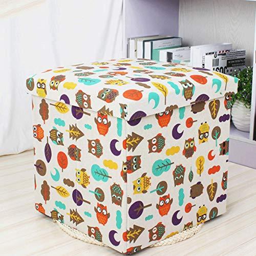 Aufbewahrungsbox Container Fußhocker, Cartoon Leinen Klapphocker, Ideal für den Einsatz als Sitze, Couchtische und Spinde,A -