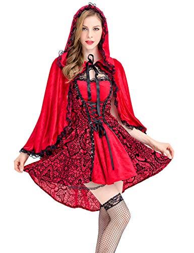 Zhuhaijq Halloween Damen Rotkäppchen Kostüm - Kleid und Umhang mit Kapuze Adult Women's Fancy Dress Costume Fever Red Riding Hood Costume