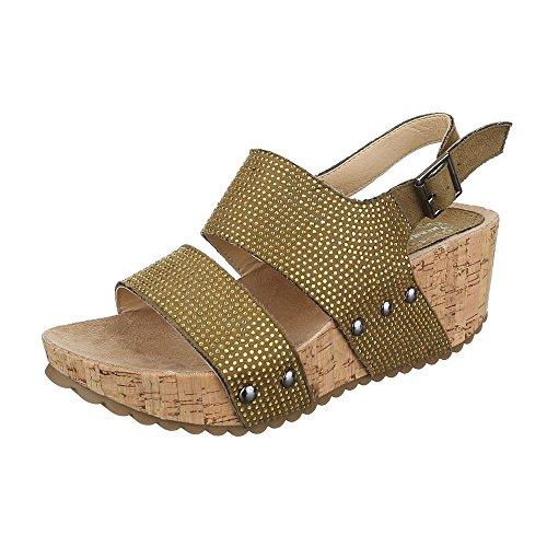 Keilsandaletten Damen-Schuhe Plateau Keilabsatz/ Wedge Keilabsatz Schnalle Ital-Design Sandalen / Sandaletten Bronze, Gr 38, 11-M31093B-