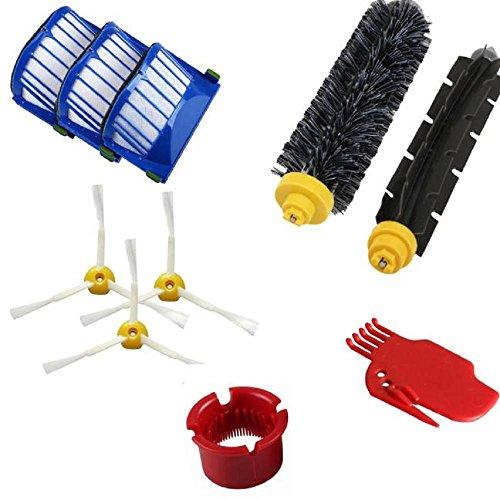 Accessoire Pour Robot Roomba SéRie 600 610 620 650 Aspirateurs PièCe De Rechange Sets - Inclure 3X Filtre +3X Brosse à Poils +1X Brosse à Fouet Flexible +1X Outil De Nettoyage +1X Brosse De So