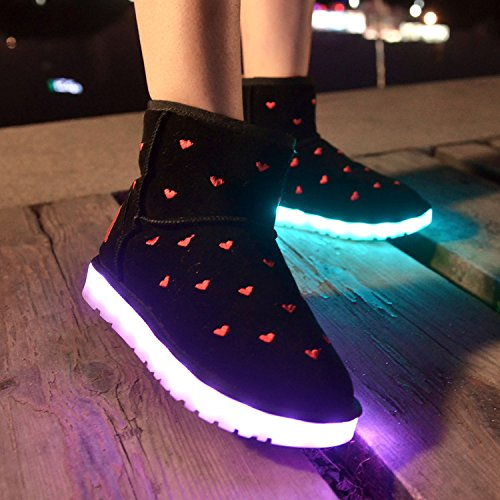 Gaorui Damen Warm Pelzfutter Winter Boots Schneestiefel Schneestiefel runde Zehe Herz Muster LED Leuchtende Schuhe Gelb