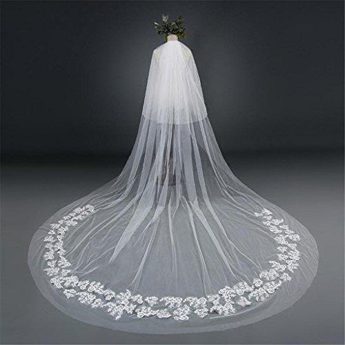 Vestito da cerimonia nuziale 3m seta lunga del merletto europeo di stile europeo della larghezza della coda con un filo di pettine