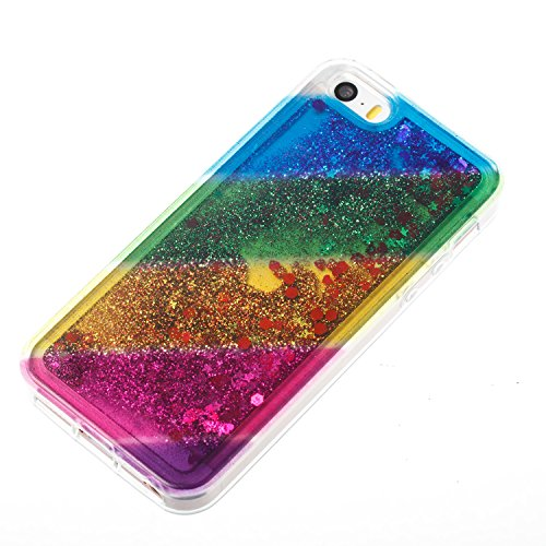 iPhone 5S Case, iPhone 5/5S Gliter Case, Edaroo [Rainbow Liquid Glitter] [Colorful Quicksand] Cute Creative Flowing Liquid Floating Glitter Bling Rubber Case for Apple iPhone 5/5S - Horizontal Stripe #3
