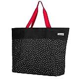 anndora XXL Shopper schwarz weiß gepunktet - Strandtasche 40 L