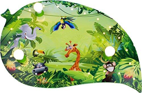 dschungel lampe Elobra Kinderlampe Deckenleuchte Blatt Wildnis Dschungel mit LED Nachtlicht, Kinderzimmer, Holz, grün, A++