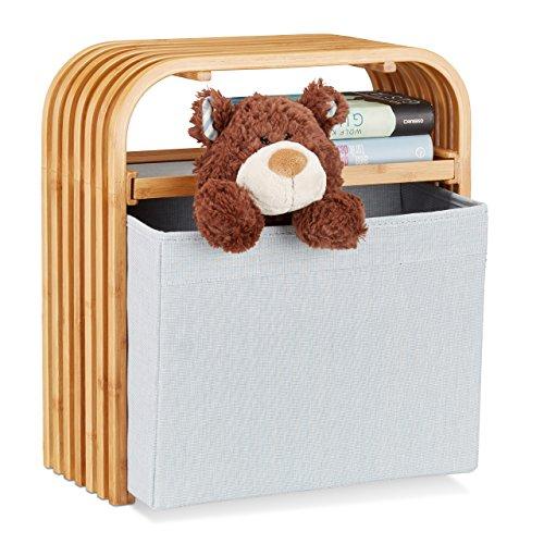 Relaxdays 10021490 sgabello contenitore pouf portaoggetti design in legno di bambù piccola seduta da ingresso beige