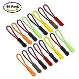 80 Stück Reißverschlusszipper Zipper Anhänger Reißverschlussanhänger , 8 Farben, FineGood Nylon Cord Reißverschluss Ersatz Tag