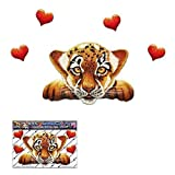 Piccolo cucciolo di tigre Divertente gatto grande animale Amore Cuore Decalcomania per auto Barche Camion Caravan - ST00014_1 - Adesivi JAS