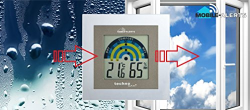 Mobile Alerts MA 10230 Raumklimastation, Zusatzsensor, Datenübertragung auf das Smartphone, Alarmierung via Push-mitteilung, tranparenter Rahmen, silber, 10 x 2 x 10 cm