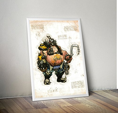 Mad-lab poster in pergamena a3 (29x40cm) overwatch roadhog
