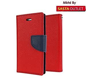 Micromax Canvas HD A116 Mercury Flip Wallet Diary Card Case Cover (Red) By Wellcare
