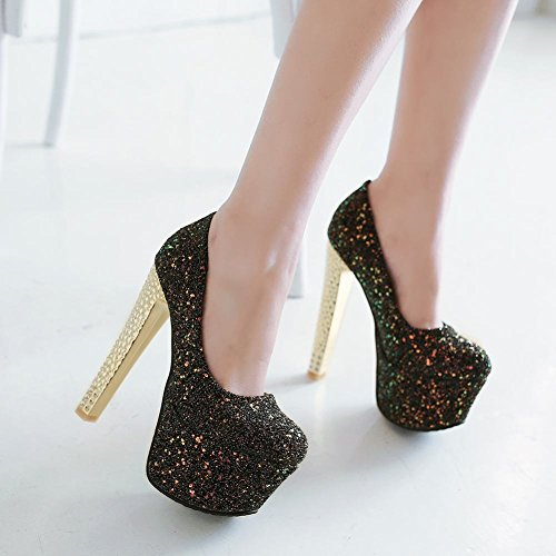 Mee Shoes Damen Plateau Geschlossen high heels Pailleten Pumps Schwarz